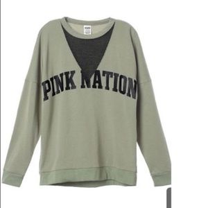 Pink Nation Campus Mesh Green Sweatshirt